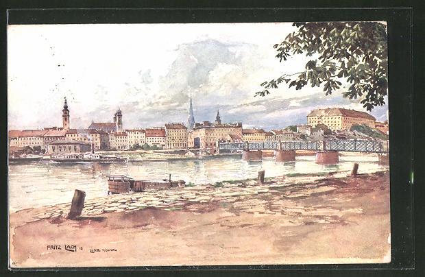 Künstler-AK Fritz Lach: Linz, Donaupartie