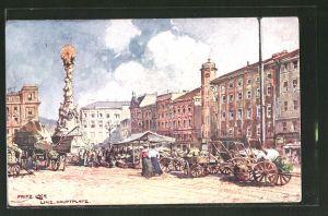 Künstler-AK Fritz Lach: Linz, Hauptplatz, Markt