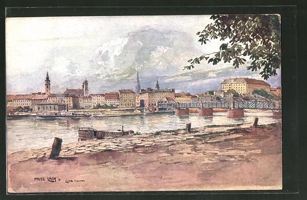 Künstler-AK Fritz Lach: Linz, Donaupanorama