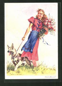 Künstler-AK Reklame Indanthren, Für Kleid und Heim, eine junge Frau mit Blumen und einem Hund