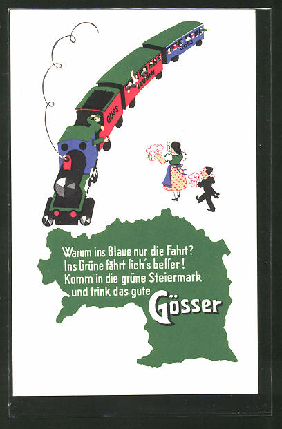 AK Warum ins Blaue nur die Fahrt? Ins Grüne fährt sich's besser!..., Gösser-Brauerei-Werbung