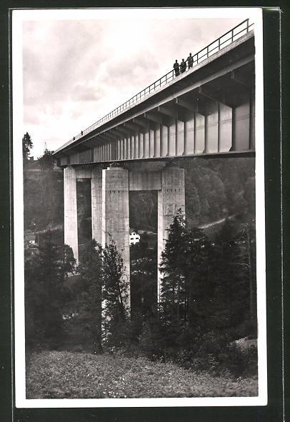 AK Mangfallbrücke der Reichsautobahn, München-Landesgrenze, Nahaufnahme