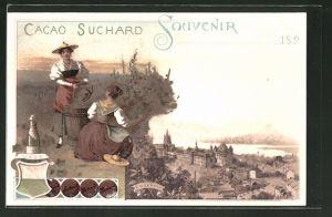 Lithographie Vaud, Cacao Suchard, Frauen bei Weinlese
