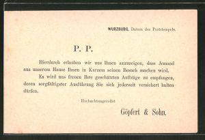 Vorläufer-AK Würzburg, 1883, Besuchsankündigung Göpfert & Sohn