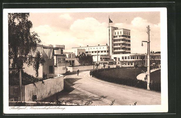 AK Stuttgart, Weissenhofsiedlung, Strassenpartie, Architektur
