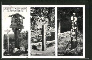 AK Schreiberhau, Originelle Wegweiser Holzfäller, Glasbläser