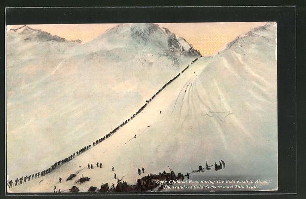 AK Chilkoot Pass, AK, Goldsucher überqueren in langer Reihe den Pass