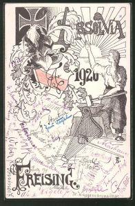 Künstler-AK Freising, Absolvia 1920, Schmied am Amboss