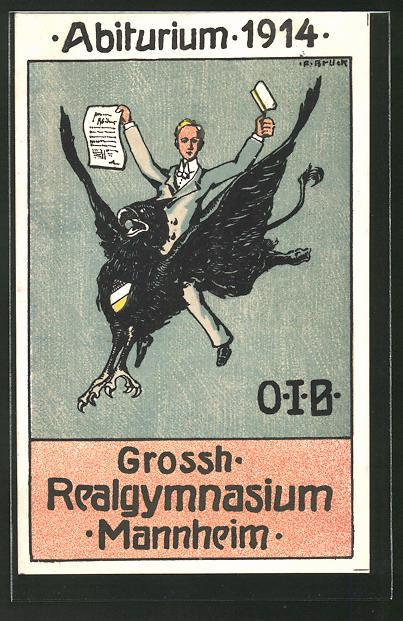 Künstler-AK Mannheim, Absolvia Abiturium 1914 des Grossh. Realgymnasium