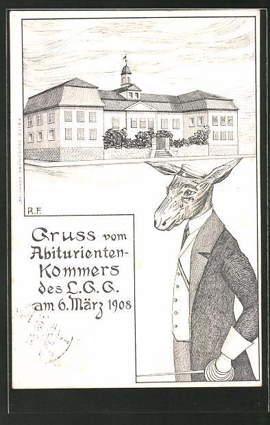AK Darmstadt, Abiturienten-Kommers des L.G.G. am 6. März 1908, Absolvia
