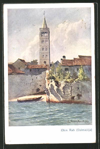 Künstler-AK Edo v. Handel-Mazzetti: Otok Rab, Blick vom Wasser zum Kirchturm