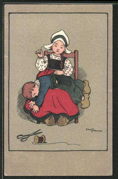 Künstler-AK Ethel Parkinson: Mädchen stickt Knabe den Hostenboden