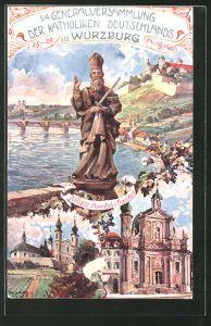 Künstler-AK Richard Wagner: Würzburg, Ganzsache Bayern, PP15 C 139, 54. Generalversammlung der Katholiken 1907