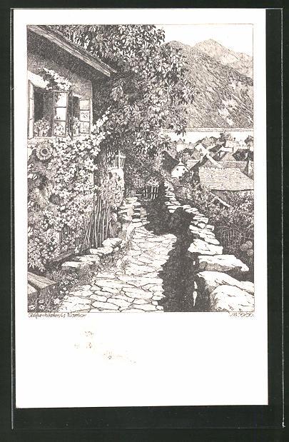 Künstler-AK Ulf Seidl: Weissenkirchen a. d. Donau, Ortspartie mit Steinweg