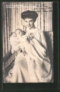 AK Grossherzogin Alexandra mit Erbgrossherzog von Mecklenburg-Schwerin