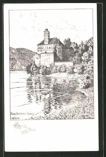 Künstler-AK Ulf Seidl: Schönbühel, Blick zum Schloss