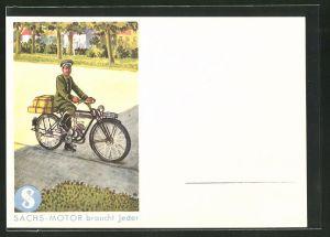 AK Reklame für Sachs-Motoren, Briefträger bringt die Post per Motorrad