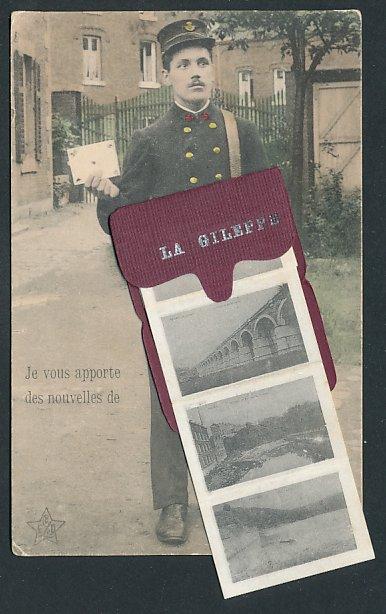 Leporello-AK La Gileppe, Briefträger mit Posttasche voller Ansichten der Ortschaft