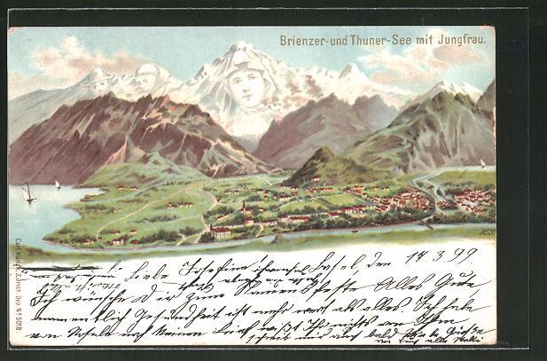 Lithographie Künzli No. 5018: Brienzer- und Thune-See mit Jungfrau, Berg mit Gesicht / Berggesichter