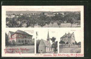 AK Ossenheim, Gasthaus zur Post v. August Heil, Kirche, Pfarrhaus, Totalansicht