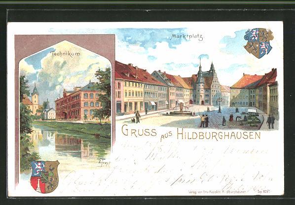 Künstler-AK Hildburghausen, Technikum und Marktplatz mit Wappen