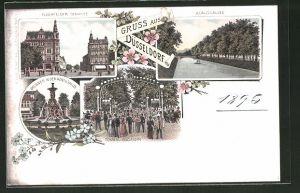 Lithographie Düsseldorf, Elberfelder Strasse, Königsallee, Brunnen in der Königsallee, Tonhallengarten