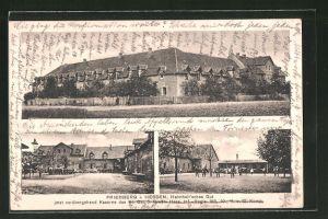 AK Friedberg i. Hessen, Blick aufs Helmholt'sche Gut als Kaserne, Innenhof mit Soldaten