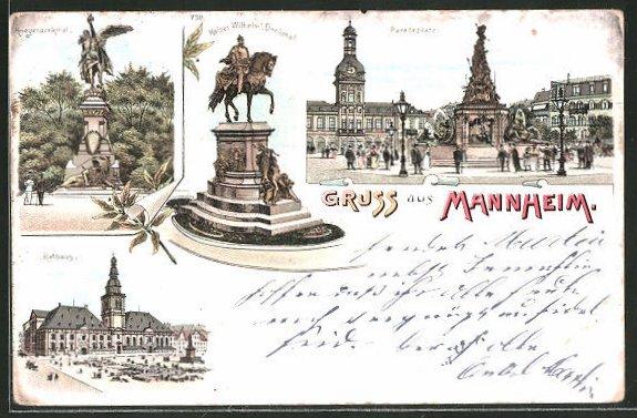 Lithographie Mannheim, Paradeplatz, Kaiser Wilhelm Denkmal, Kriegerdenkmal, Rathaus