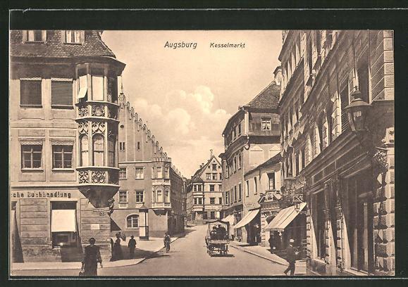 AK Augsburg, Strassenpartie am Kesselmarkt