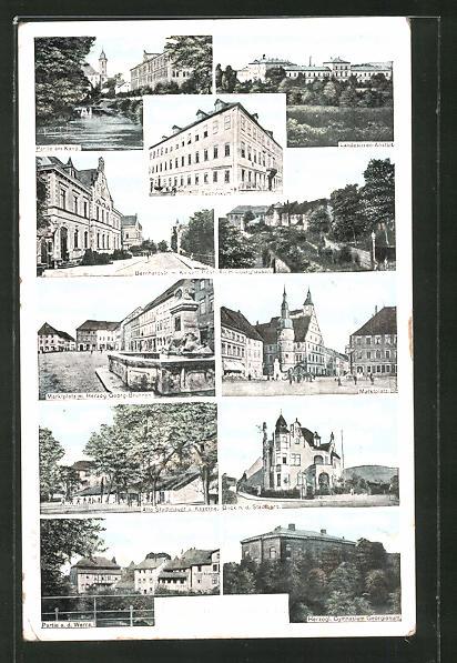 AK Hildburghausen, Partie am Kanal, Technikum, Marktplatz, Blick n. d. Stadtberg, Partie a. d. Werra