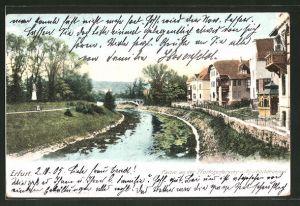 AK Erfurt, Flusspartie an der Pförtchenbrücke m. Reichartdenkmal