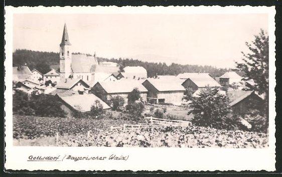 AK Gottsdorf / Bayerischer Wald, Ortsansicht mit Kirche