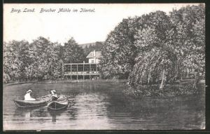 AK Brucher Mühle / Ittertal, Ruderboote beim Gasthaus Brucher Mühle