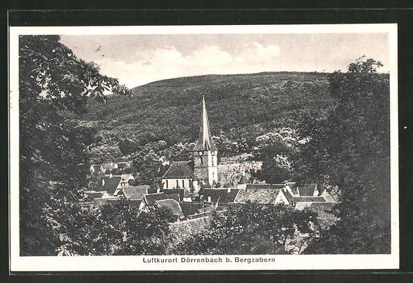 AK Dörrenbach, Panoramablick mit Kirchturm