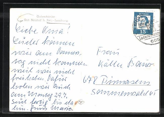 AK Neu-Isenburg, Gutsschänke Gut Neuhof aus der Vogelschau Nr ...