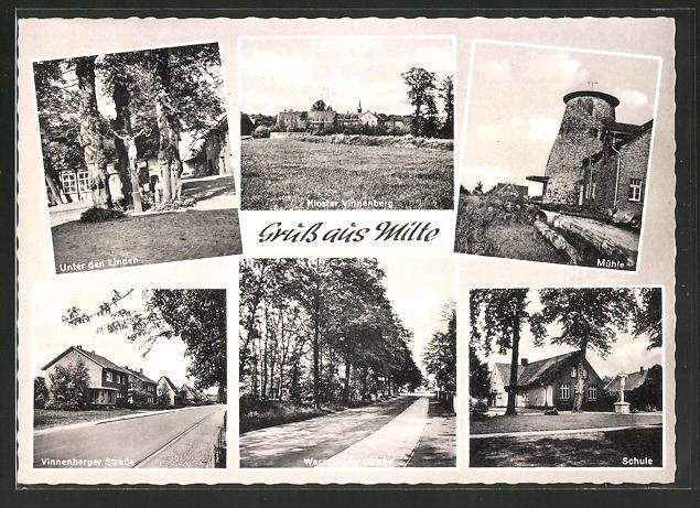 AK Milte, Unter den Linden, Mühle, Kloster Vinnenberg, Schule