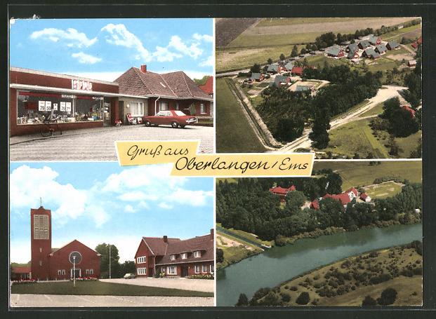 AK Oberlangen / Ems, Spar-Geschäft, Ortsansicht, Kirche