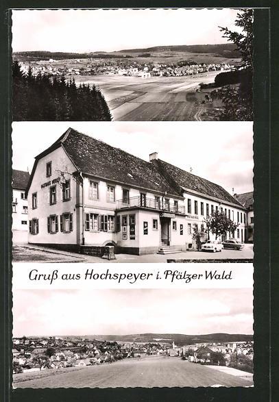 AK Hochspeyer i. Pfälzer Wald, Totalansicht & Gasthaus Werle