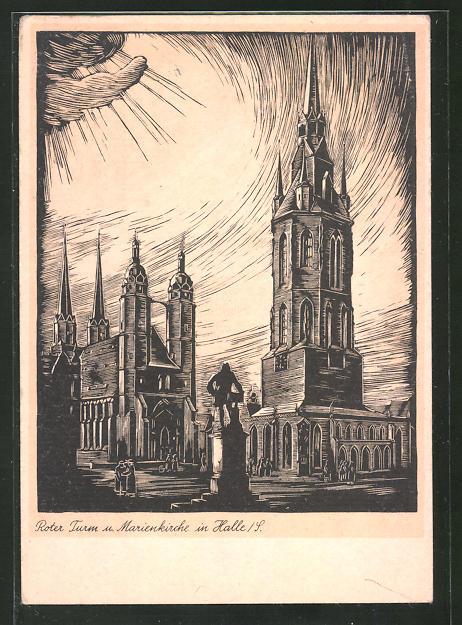 Künstler-AK Halle / S., Roter Turm und Marienkirche