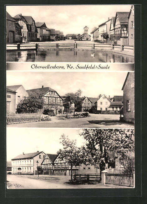 AK Oberwellenborn, Ortspartie, Strassenpartie, Flusspartie