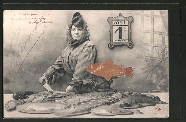 AK 1. April, C'est le jour ou jamais..., Fischverkäuferin mit Waage
