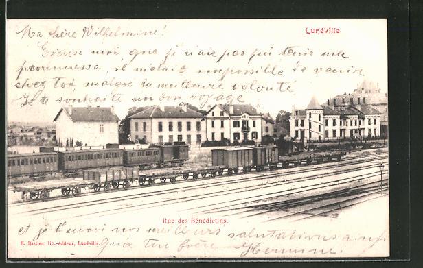AK Lunéville, Rue des Bénédictins, Bahnhof