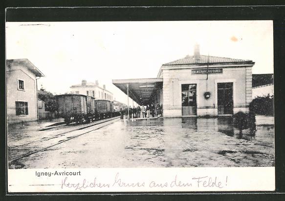AK Igney-Avricourt, Motiv vom Bahnhof