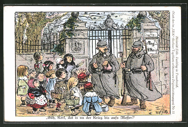 Künstler-AK Heinrich Zille: Vadding in Frankreich - Süh, Korl, dat is nur der Krieg bis aufs Messer!
