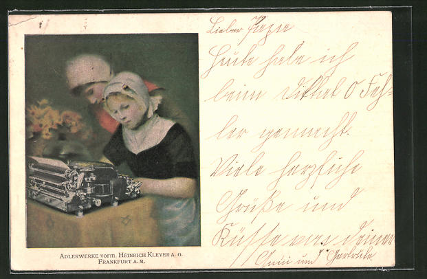 AK Kinder mit Schreibmaschine, Adlerwerke vorm. Heinrich Kleyer A.G.