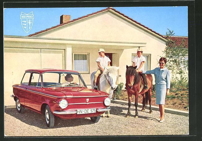 AK Familie mit Auto NSU-Prinz 4 und Pferden