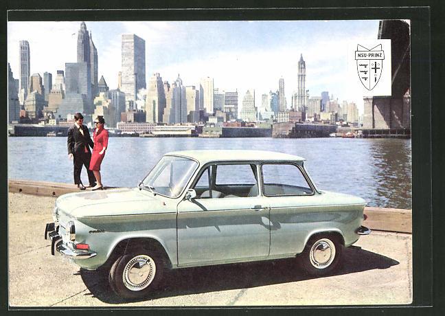 AK New York, Auto NSU-Prinz 4 vor der Manhatten-Skyline