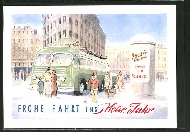 Künstler-AK Krumbach-Fürth, Omnibus vor einer Litfasssäule