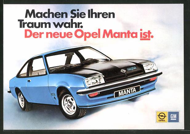 AK Der neue Opel Manta IST, Autoreklame