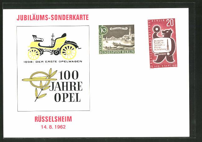AK Rüsselsheim, 100 Jahre Opel 1962, Jubiläums-Sonderkarte